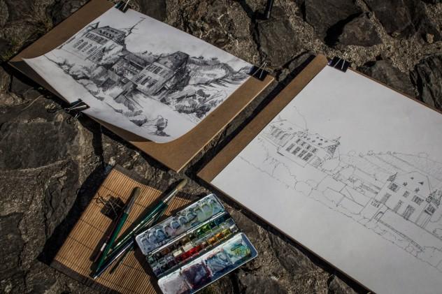 Zeichnen Kobern Gondorf Torhaus