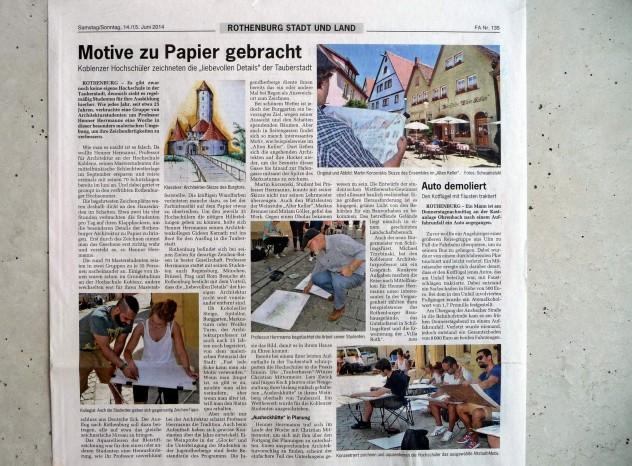 Presseartikel im Fränkischen Anzeiger - Zeichenexkursion Rothenburg