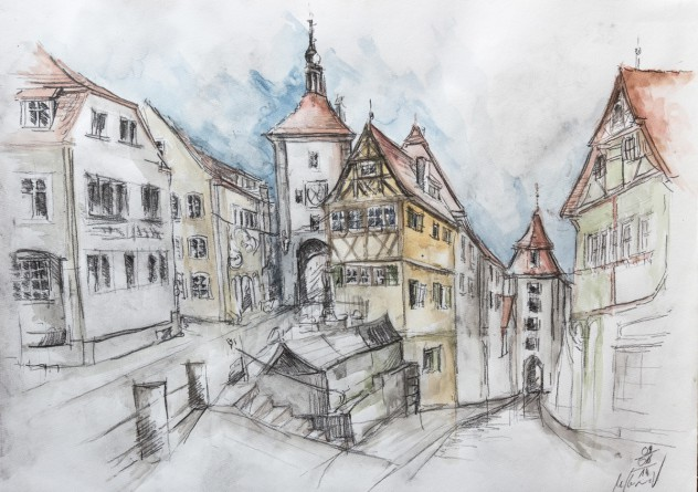 Rothenburg Zeichnung Kobolzeller Tor Martin Korzenski