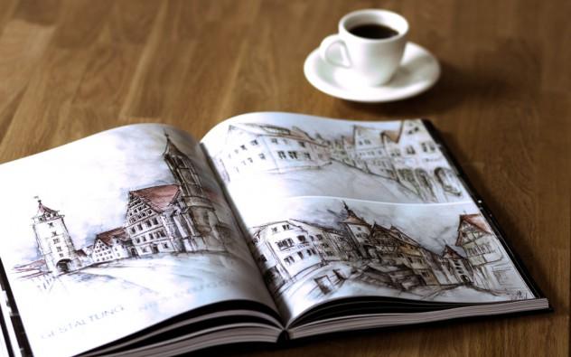 Portfolio-Buch five aufgeschlagen